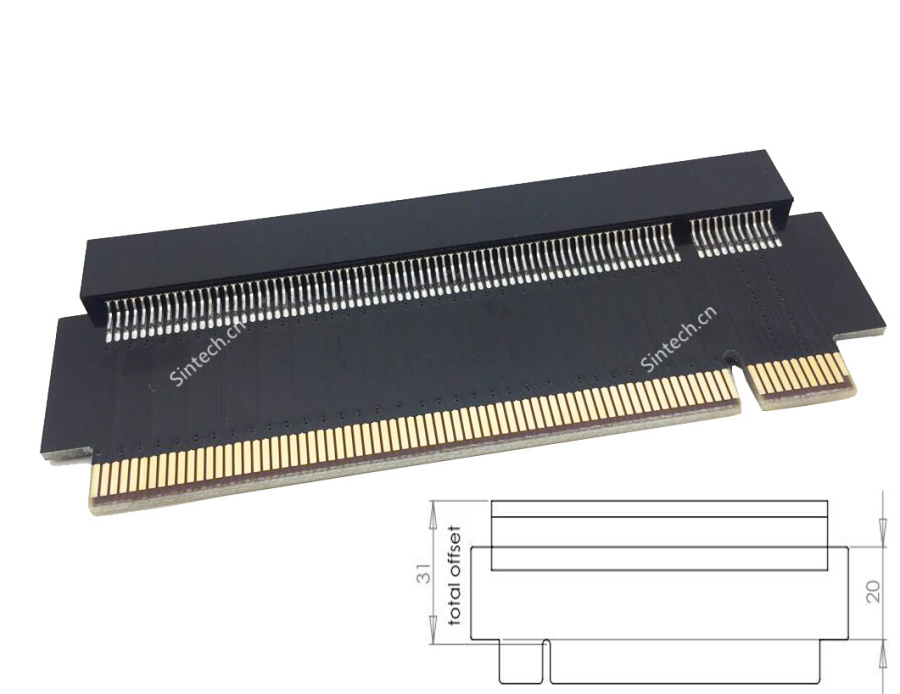 High Quality PCI-E express 16X riser extension card (31mm)